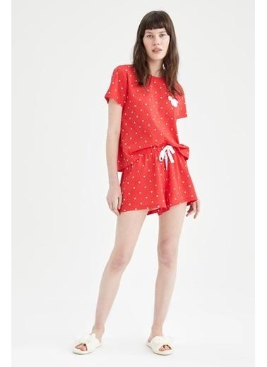 DeFacto Mickey Mouse Lisanslı Kısa Kol Pijama Takımı Kırmızı